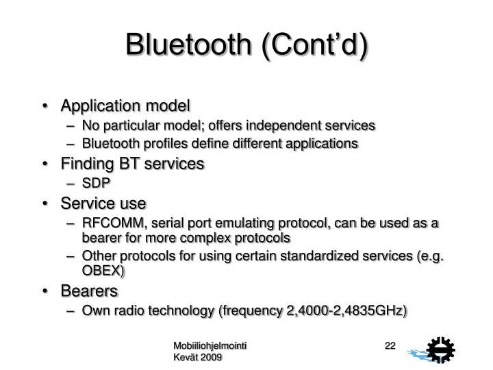 Bluetooth (Cont'd)