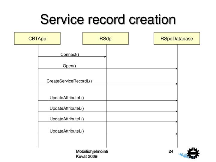 Service record creation