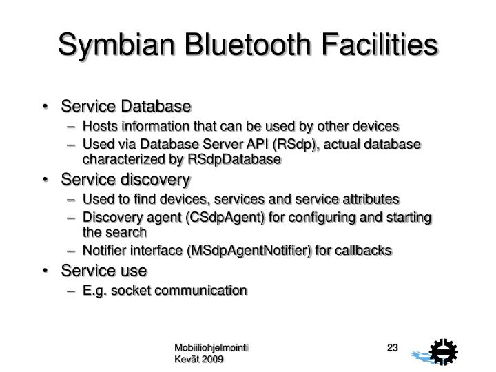 Symbian Bluetooth Facilities
