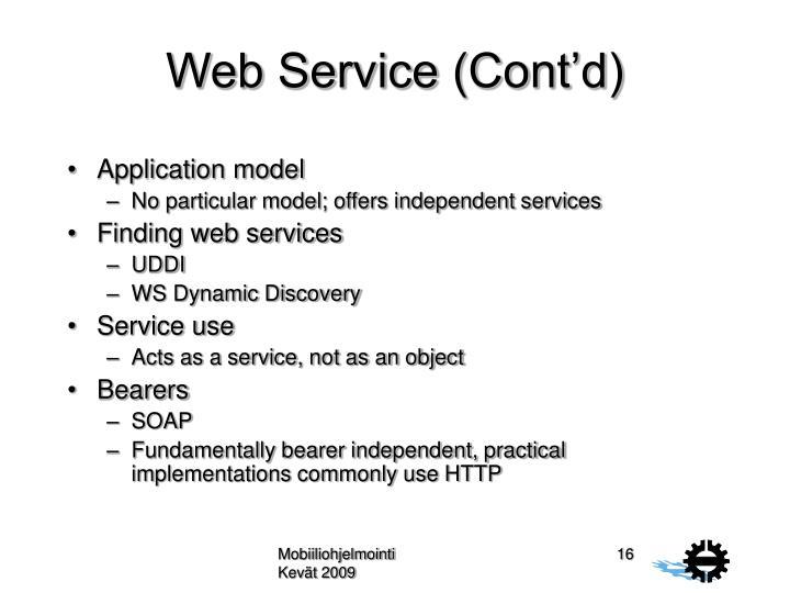 Web Service (Cont'd)
