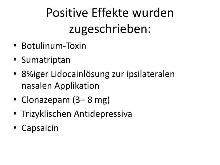 Positive Effekte wurden zugeschrieben: