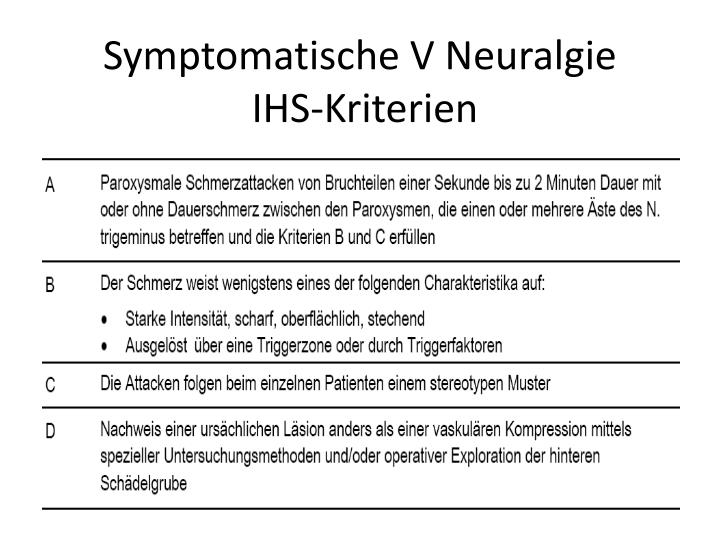 Symptomatische V Neuralgie