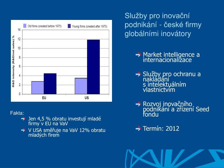 Služby pro inovační podnikání - české firmy globálními inovátory
