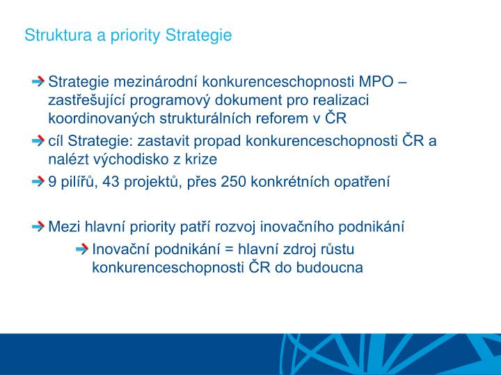 Struktura a priority strategie