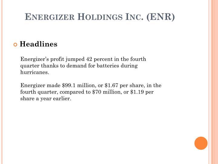 Energizer Holdings Inc. (ENR)