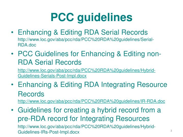 Pcc guidelines