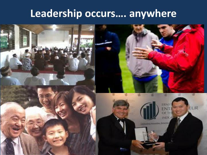 Leadership occurs…. anywhere