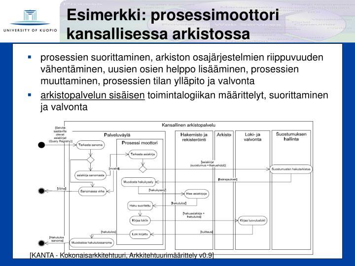 Esimerkki: prosessimoottori kansallisessa arkistossa