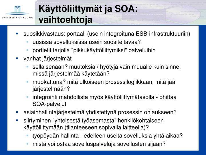 Käyttöliittymät ja SOA: vaihtoehtoja