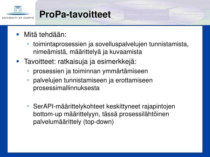 ProPa-tavoitteet