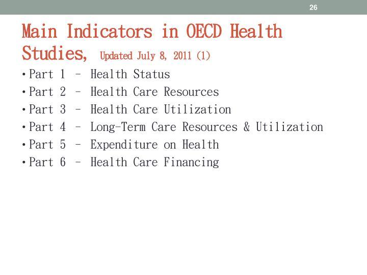 Main Indicators in OECD Health Studies,
