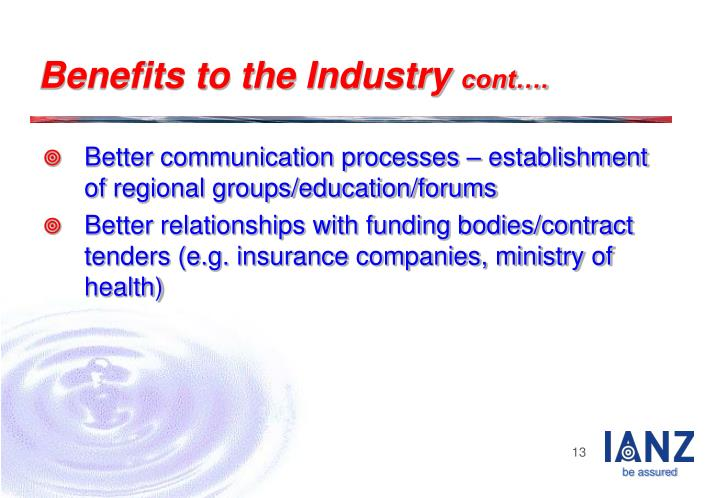 Benefits to the Industry