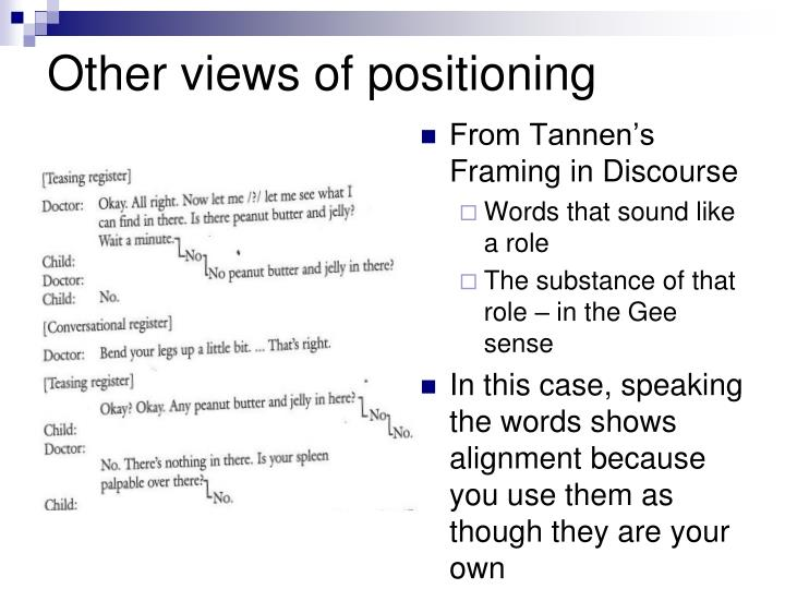Other views of positioning