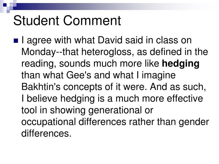 Student Comment