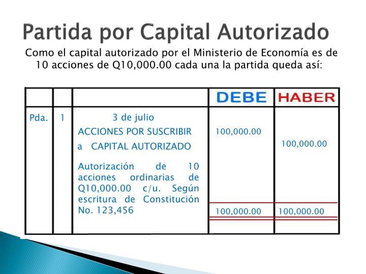 Partida por Capital Autorizado
