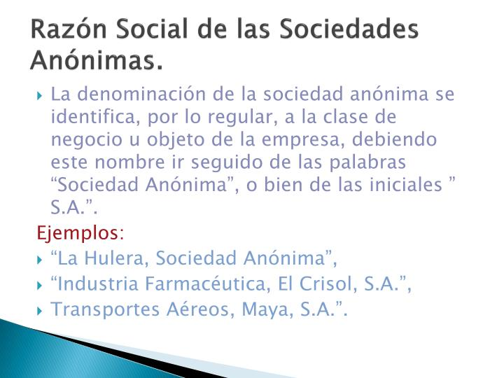 Razón Social de las Sociedades Anónimas.