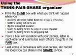 using the think pair share organizer