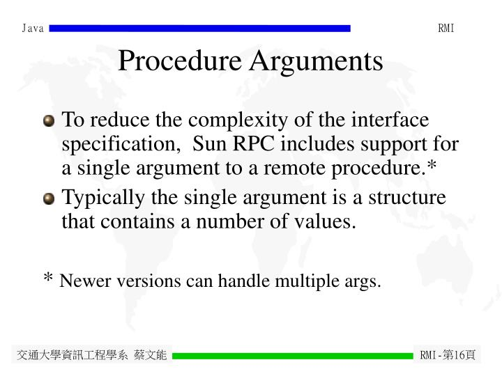 Procedure Arguments