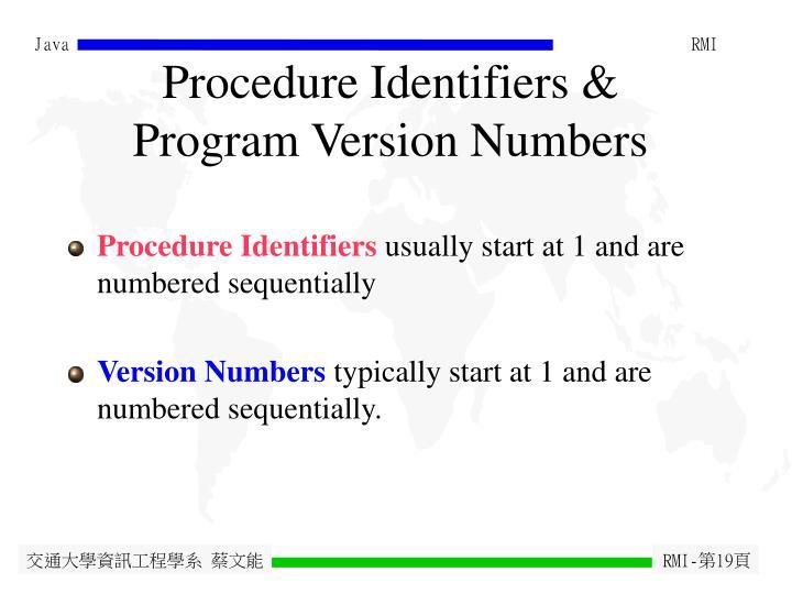 Procedure Identifiers &