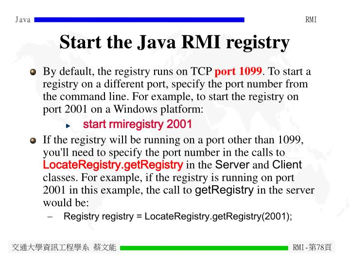 Start the Java RMI registry