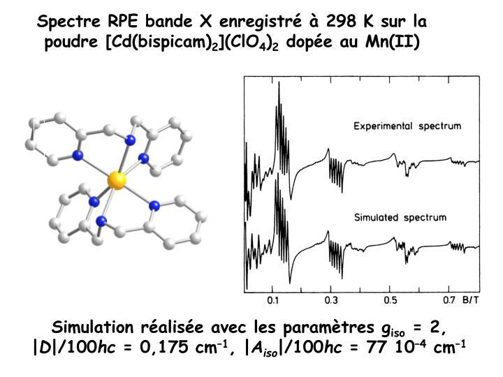 Spectre RPE bande X enregistré à 298K sur la poudre [Cd(bispicam)