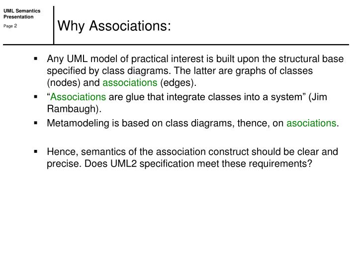 Why Associations: