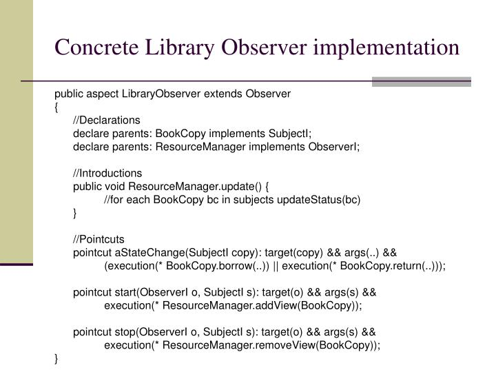 Concrete Library Observer implementation