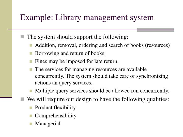 Example: Library management system