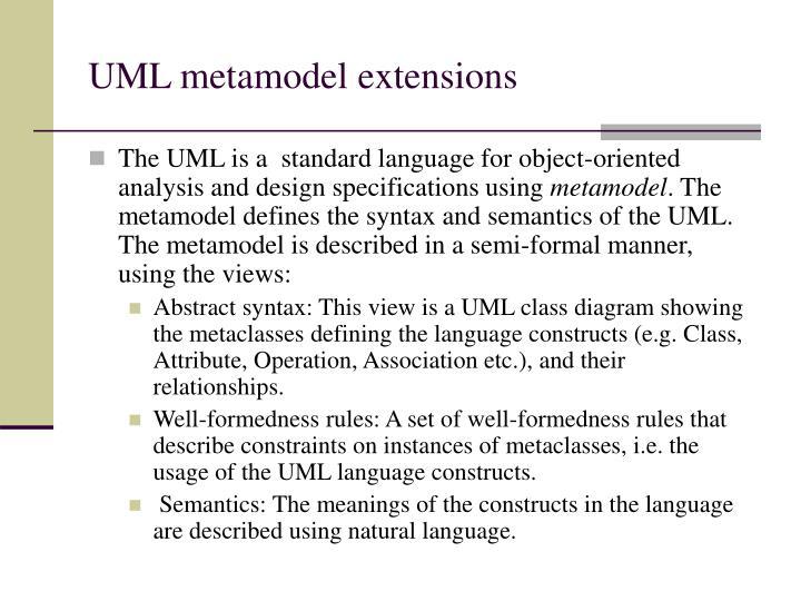 UML metamodel extensions
