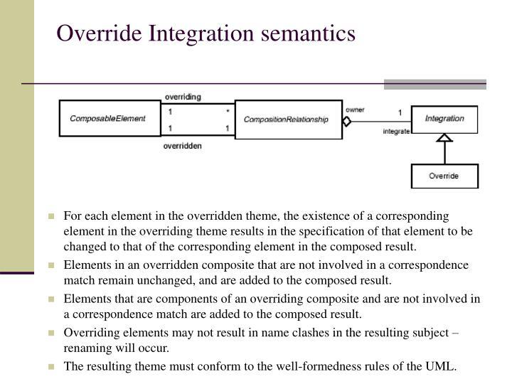 Override Integration semantics