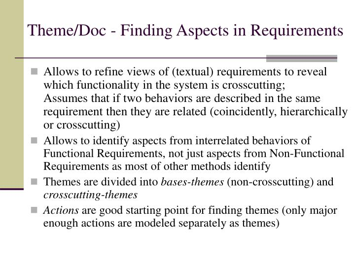 Theme/Doc - Finding Aspects in Requirements