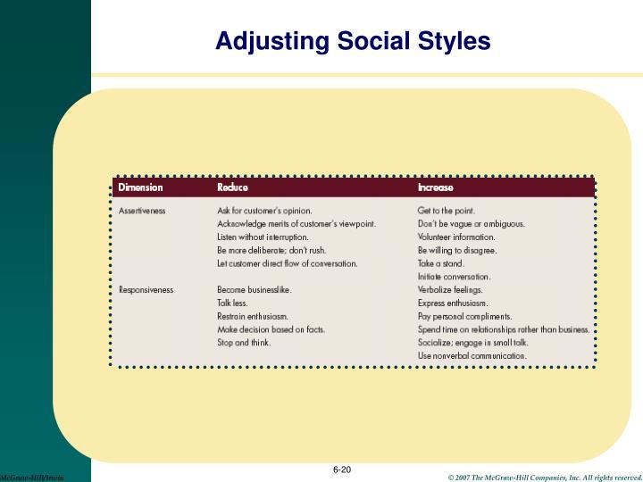 Adjusting Social Styles