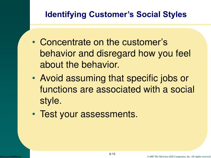 Identifying Customer's Social Styles