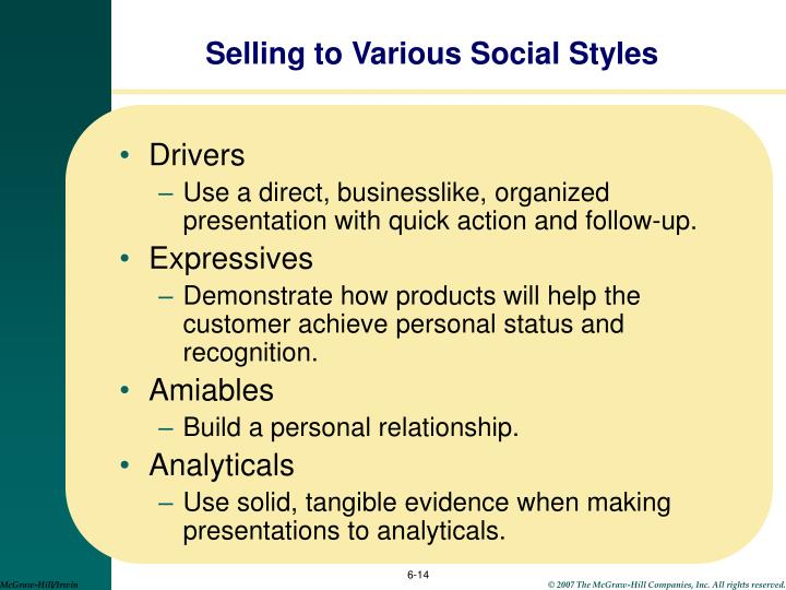 Selling to Various Social Styles