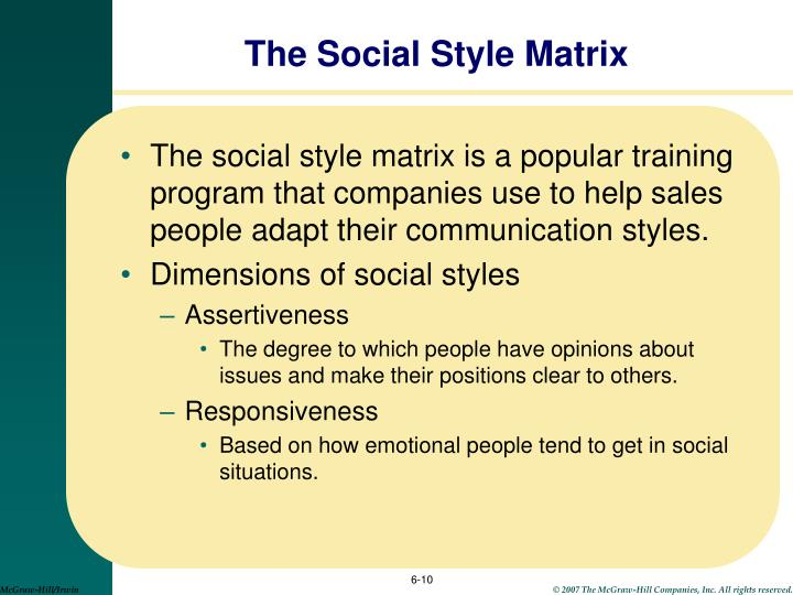 The Social Style Matrix