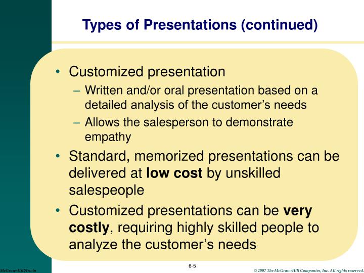 Types of Presentations (continued)