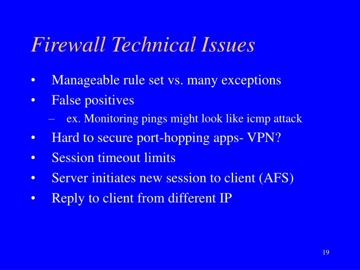 Firewall Technical Issues