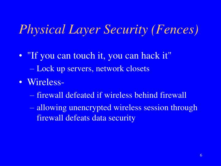 Physical Layer Security (Fences)