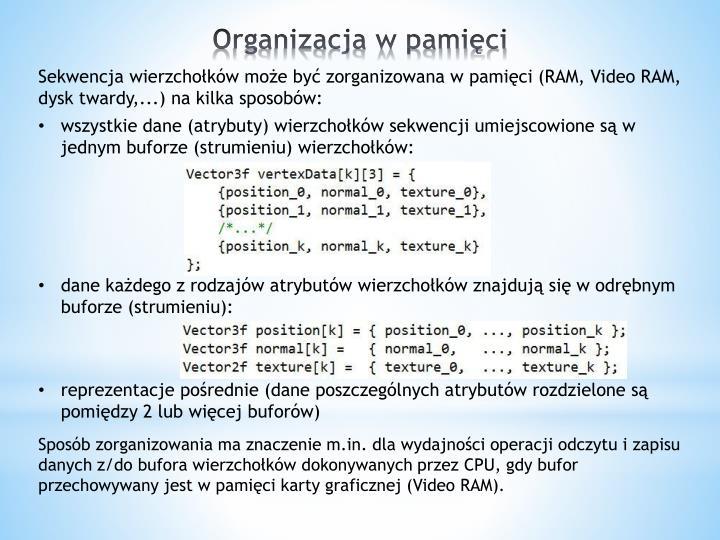Sekwencja wierzchołków może być zorganizowana w pamięci (RAM, Video RAM