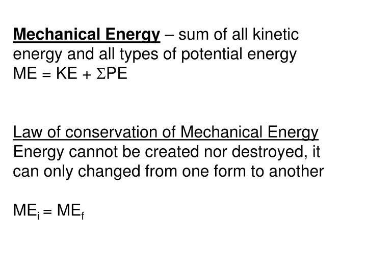Mechanical Energy