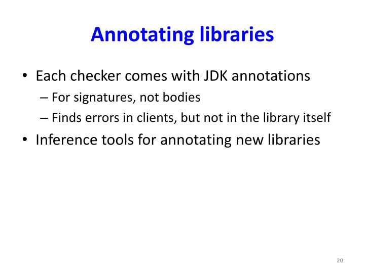 Annotating libraries