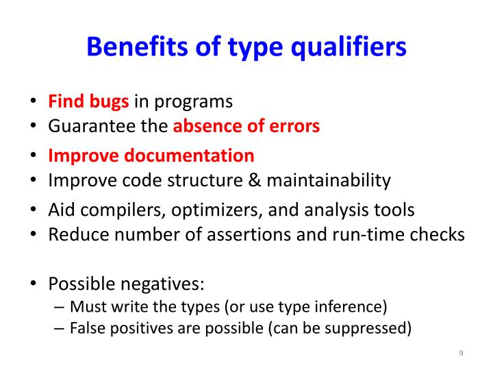 Benefits of type qualifiers
