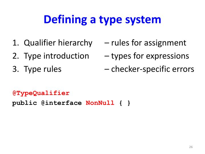 Defining a type system