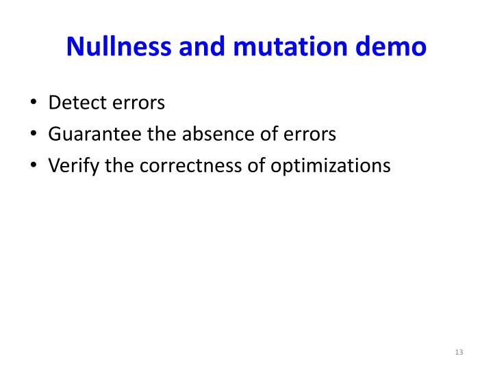 Nullness and mutation demo