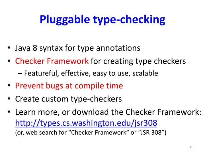 Pluggable type-checking