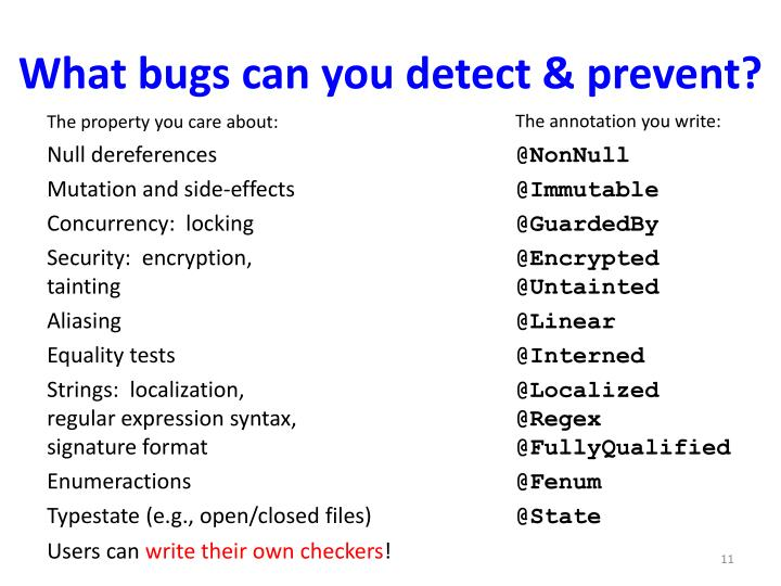 What bugs can you detect & prevent?