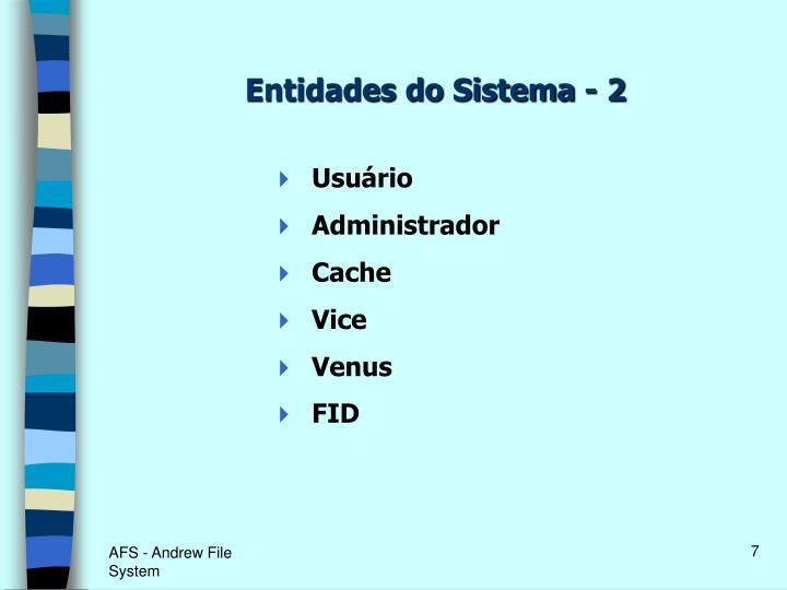 Entidades do Sistema - 2