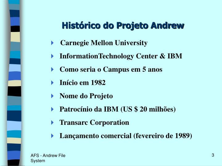 Histórico do Projeto Andrew