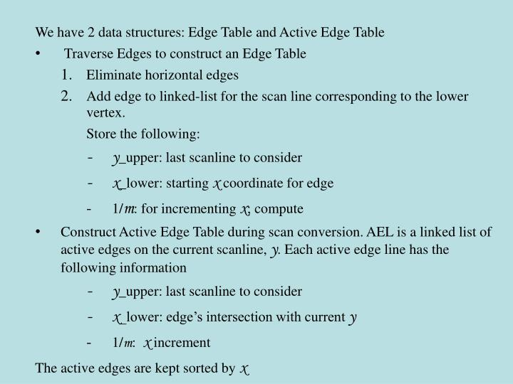 We have 2 data structures: Edge Table and Active Edge Table
