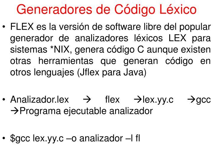 Generadores de Código Léxico